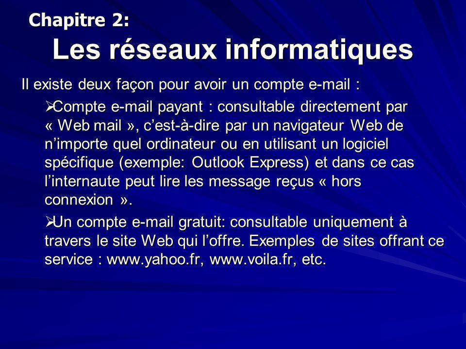 Les réseaux informatiques Il existe deux façon pour avoir un compte e-mail : Compte e-mail payant : consultable directement par « Web mail », cest-à-d