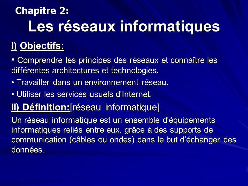 Les réseaux informatiques I) Objectifs: Comprendre les principes des réseaux et connaître les différentes architectures et technologies. Comprendre le
