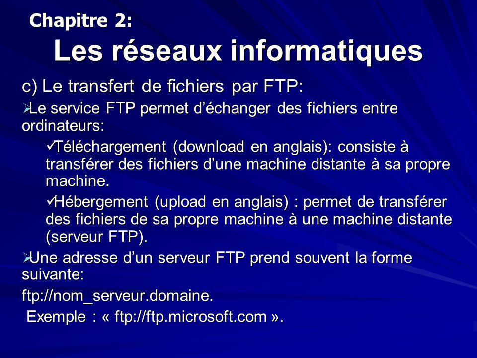 Les réseaux informatiques c) Le transfert de fichiers par FTP: Le service FTP permet déchanger des fichiers entre ordinateurs: Le service FTP permet d