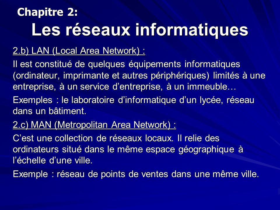 Les réseaux informatiques 2.d) WAN (Wide Area Network) : Cest un réseau qui relie des réseaux locaux et métropolitains entre eux.