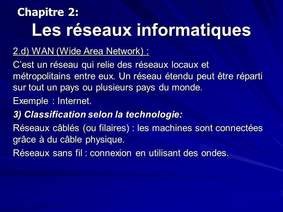 Les réseaux informatiques 2.d) WAN (Wide Area Network) : Cest un réseau qui relie des réseaux locaux et métropolitains entre eux. Un réseau étendu peu