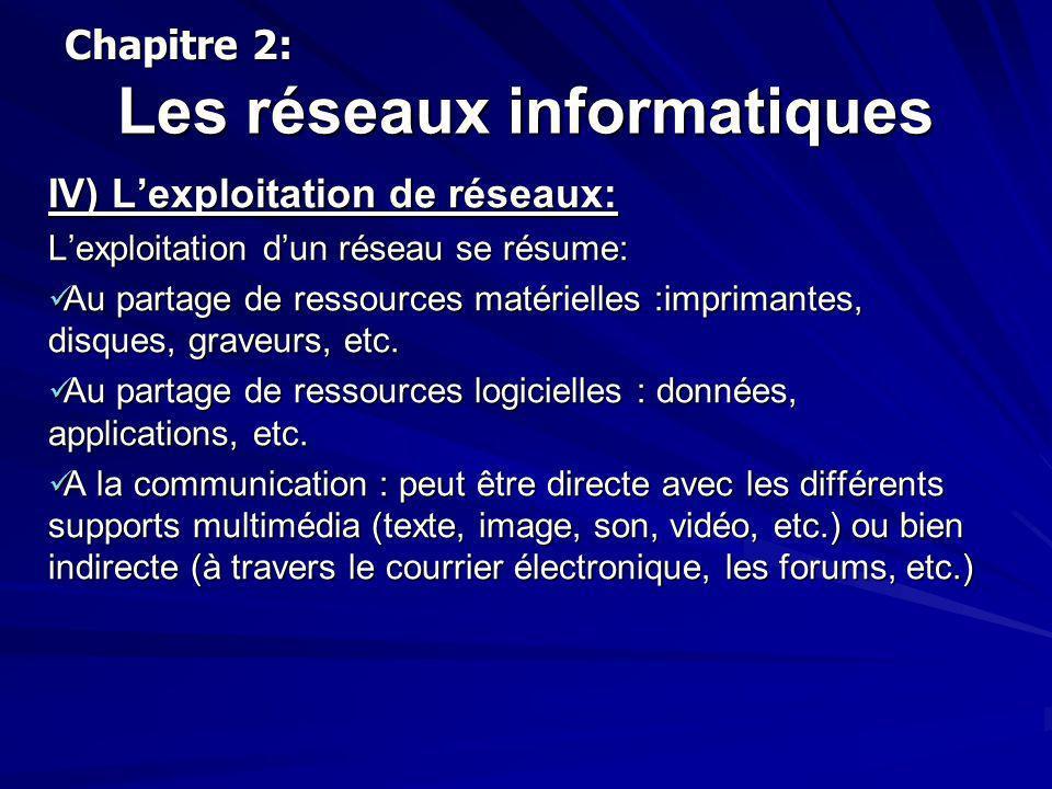 Les réseaux informatiques IV) Lexploitation de réseaux: Lexploitation dun réseau se résume: Au partage de ressources matérielles :imprimantes, disques