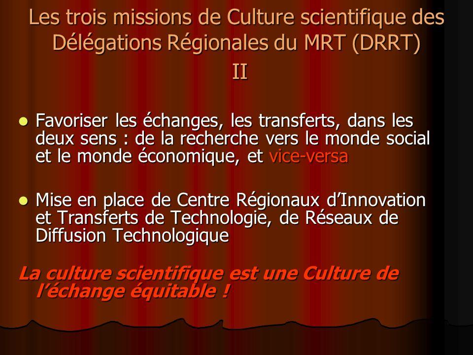 Les trois missions de Culture scientifique des Délégations Régionales du MRT (DRRT) II Favoriser les échanges, les transferts, dans les deux sens : de la recherche vers le monde social et le monde économique, et vice-versa Favoriser les échanges, les transferts, dans les deux sens : de la recherche vers le monde social et le monde économique, et vice-versa Mise en place de Centre Régionaux dInnovation et Transferts de Technologie, de Réseaux de Diffusion Technologique Mise en place de Centre Régionaux dInnovation et Transferts de Technologie, de Réseaux de Diffusion Technologique La culture scientifique est une Culture de léchange équitable !