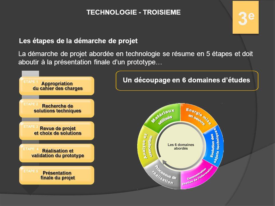 TECHNOLOGIE - TROISIEME 3e3e Les étapes de la démarche de projet La démarche de projet abordée en technologie se résume en 5 étapes et doit aboutir à la présentation finale dun prototype… Un découpage en 6 domaines détudes