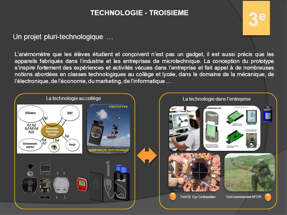 3e3e Un projet pluri-technologique … Lanémomètre que les élèves étudient et conçoivent nest pas un gadget, il est aussi précis que les appareils fabriqués dans lindustrie et les entreprises de microtechnique.
