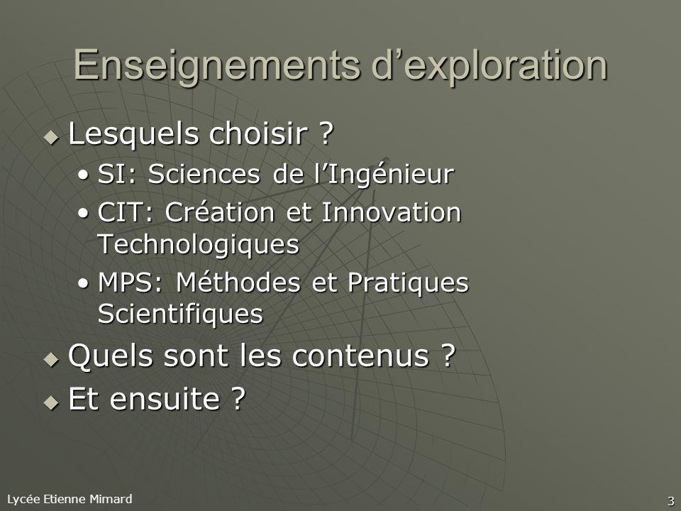 Lycée Etienne Mimard 3 Enseignements dexploration Lesquels choisir .