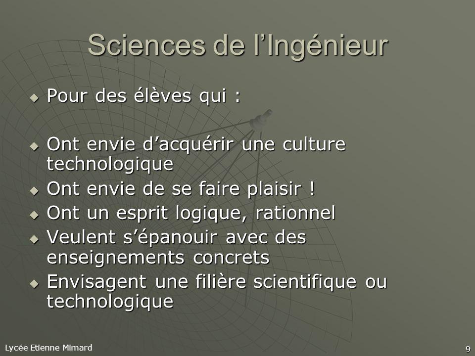Lycée Etienne Mimard 9 Sciences de lIngénieur Pour des élèves qui : Pour des élèves qui : Ont envie dacquérir une culture technologique Ont envie dacquérir une culture technologique Ont envie de se faire plaisir .