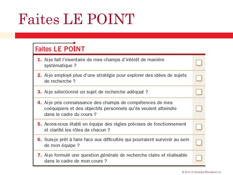 Faites LE POINT © 2010 Chenelière Éducation inc.