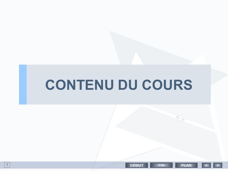 CONTENU DU COURS PLANDÉBUT 1 FIN