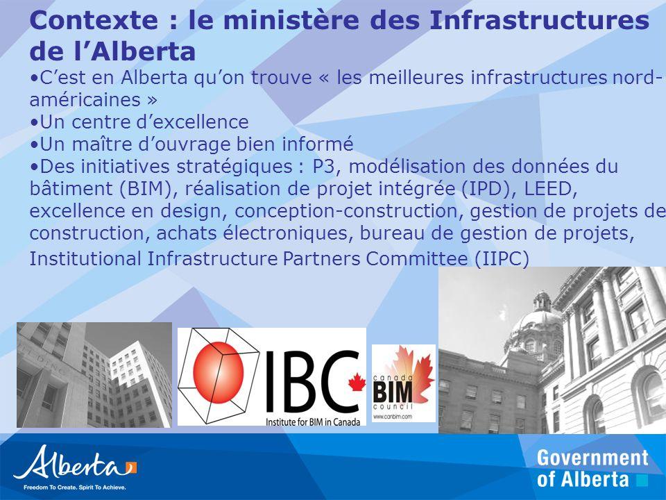 Contexte : le ministère des Infrastructures de lAlberta Cest en Alberta quon trouve « les meilleures infrastructures nord- américaines » Un centre dex