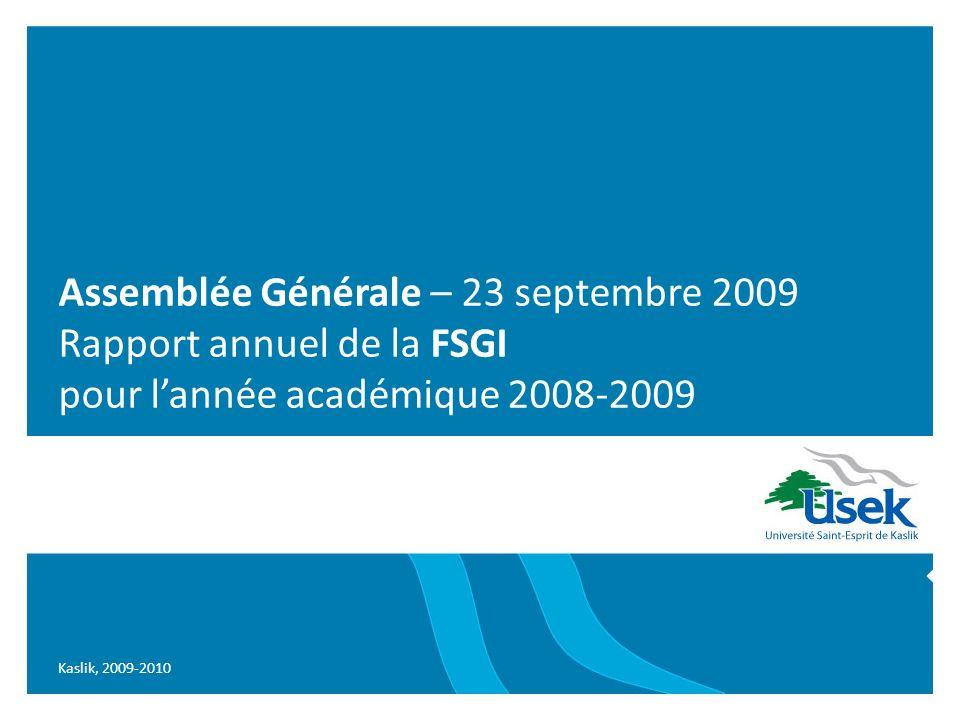 Kaslik, 2009-2010 Assemblée Générale – 23 septembre 2009 Rapport annuel de la FSGI pour lannée académique 2008-2009