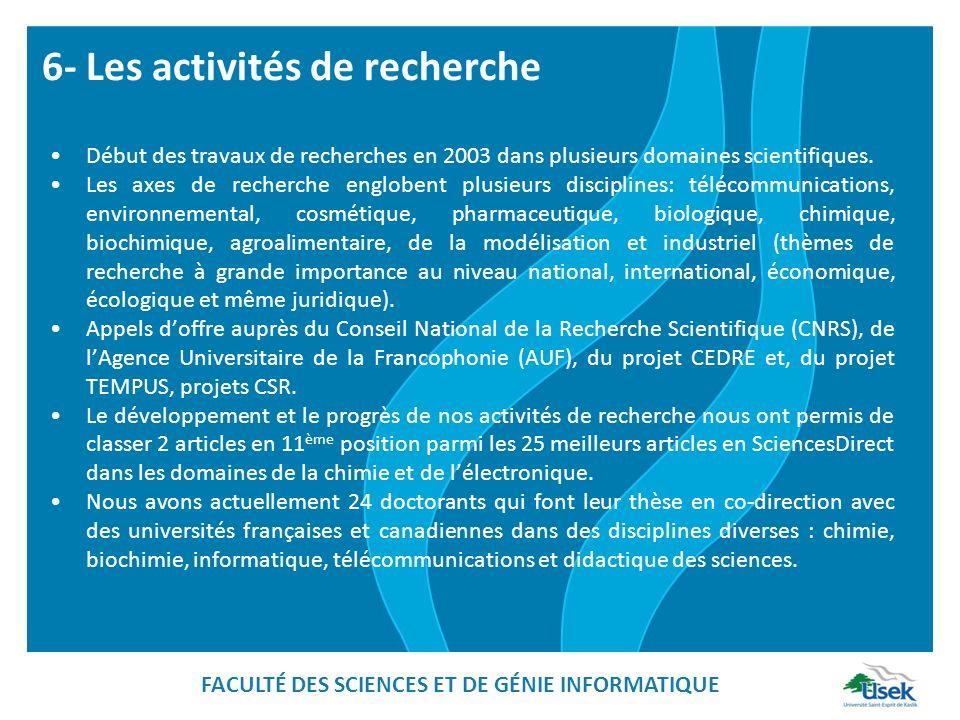 6- Les activités de recherche Début des travaux de recherches en 2003 dans plusieurs domaines scientifiques. Les axes de recherche englobent plusieurs