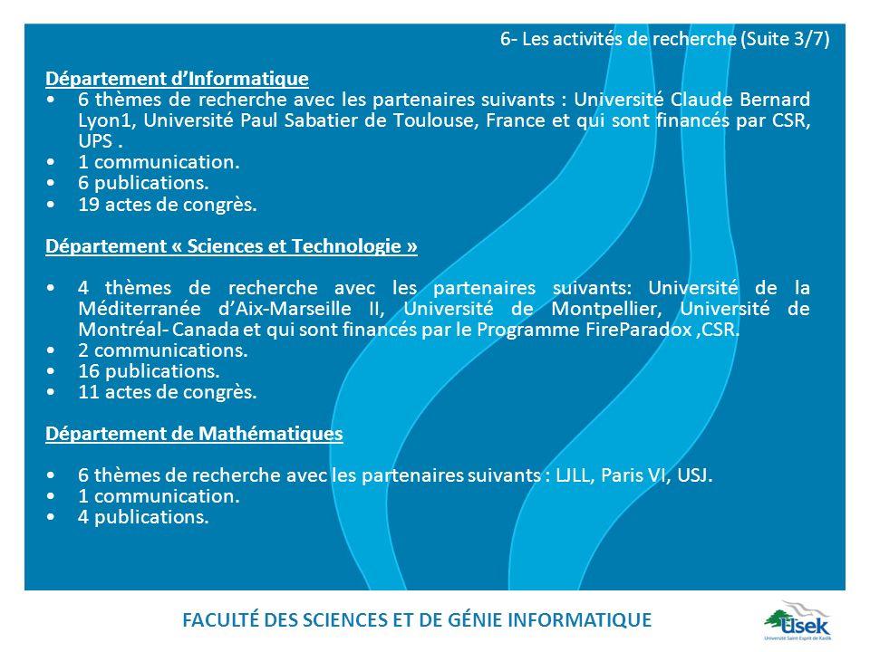 Département dInformatique 6 thèmes de recherche avec les partenaires suivants : Université Claude Bernard Lyon1, Université Paul Sabatier de Toulouse,