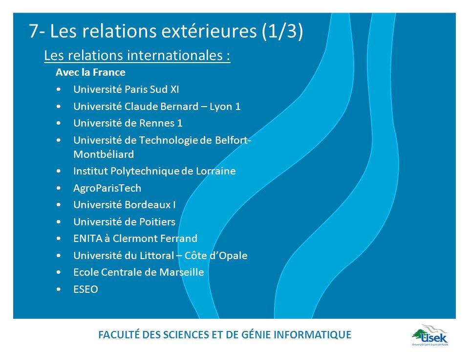 7- Les relations extérieures (1/3) Avec la France Université Paris Sud XI Université Claude Bernard – Lyon 1 Université de Rennes 1 Université de Tech