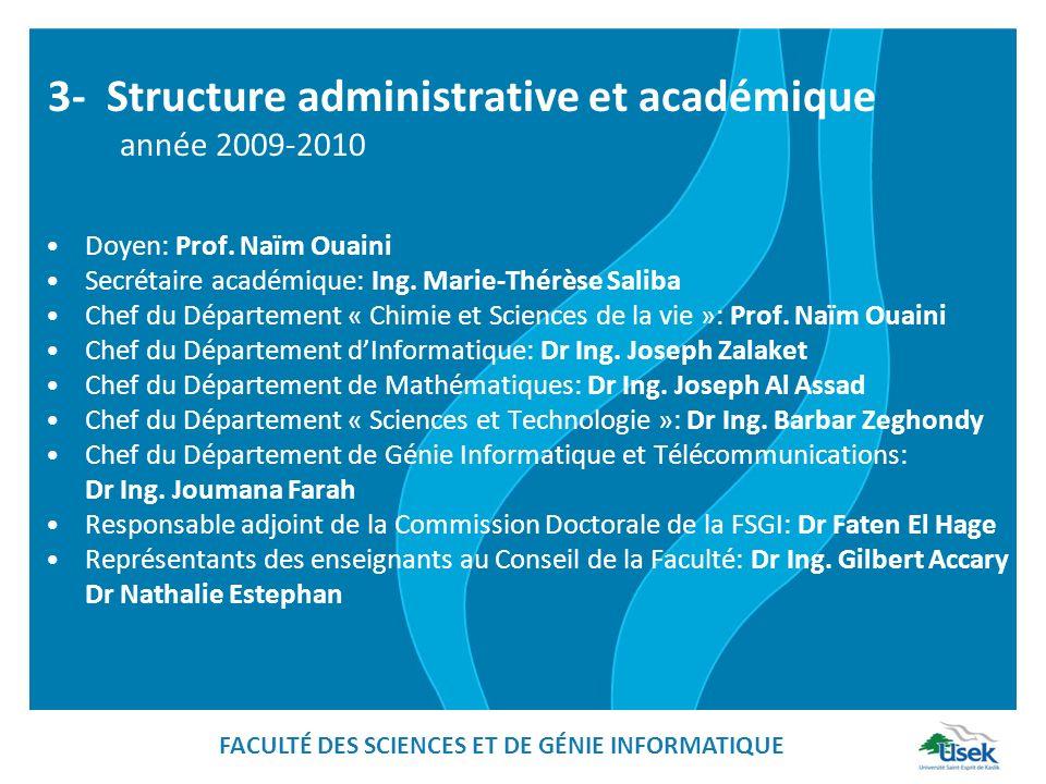 3- Structure administrative et académique année 2009-2010 Doyen: Prof. Naïm Ouaini Secrétaire académique: Ing. Marie-Thérèse Saliba Chef du Départemen