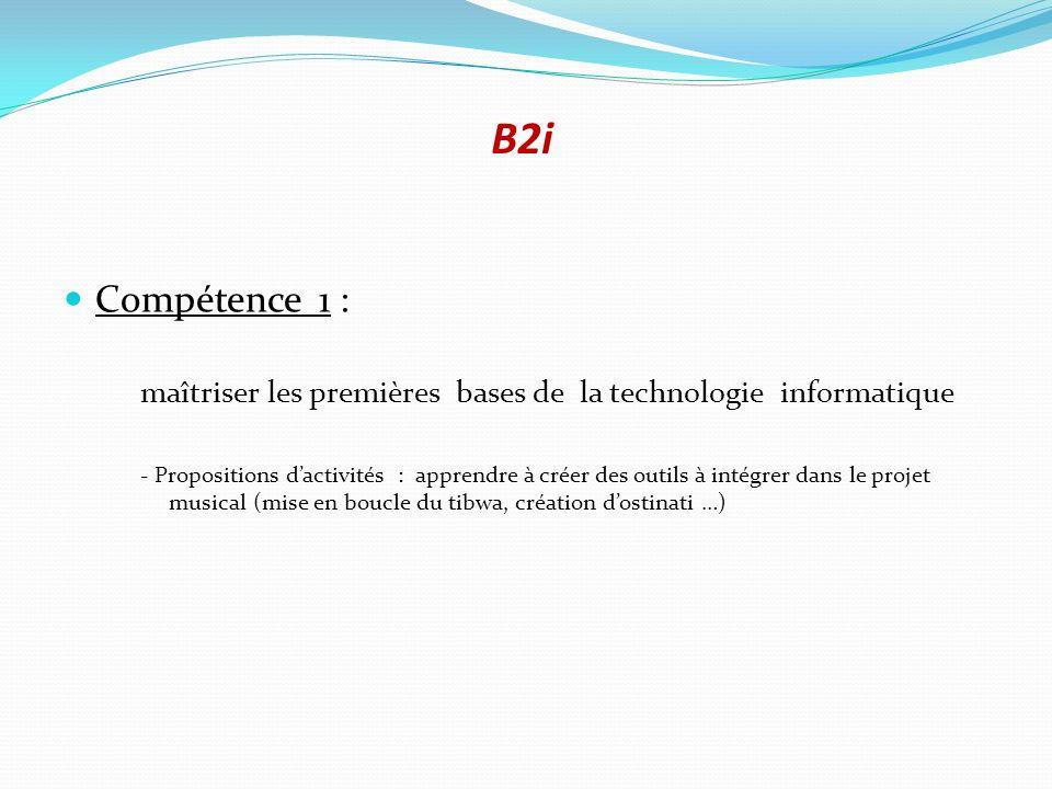B2i Compétence 1 : maîtriser les premières bases de la technologie informatique - Propositions dactivités : apprendre à créer des outils à intégrer da