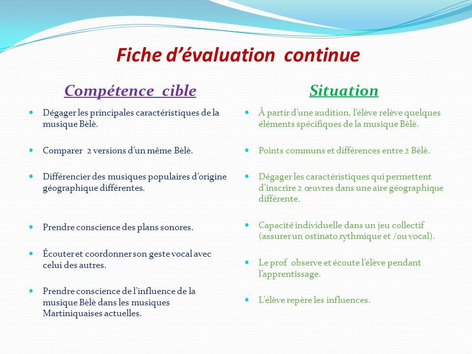 Fiche dévaluation continue Compétence cible Situation Dégager les principales caractéristiques de la musique Bèlè. Comparer 2 versions dun même Bèlè.