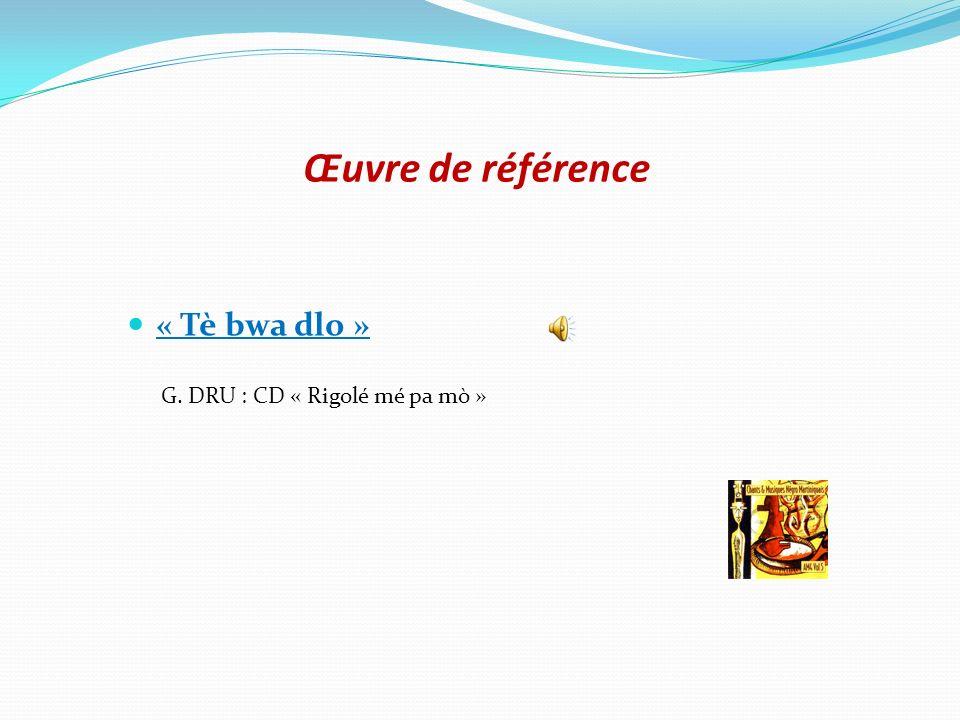 Œuvre de référence « Tè bwa dlo » G. DRU : CD « Rigolé mé pa mò »