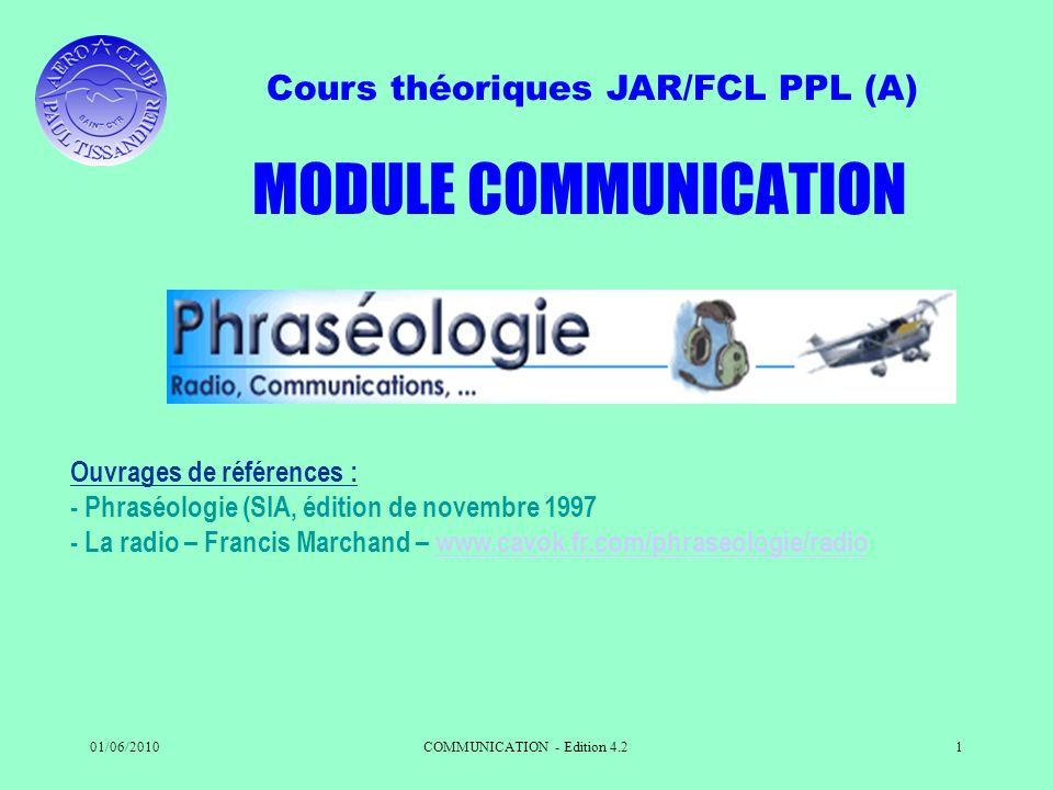 Cours théoriques JAR/FCL PPL (A) 01/06/2010COMMUNICATION - Edition 4.21 Ouvrages de références : - Phraséologie (SIA, édition de novembre 1997 - La ra