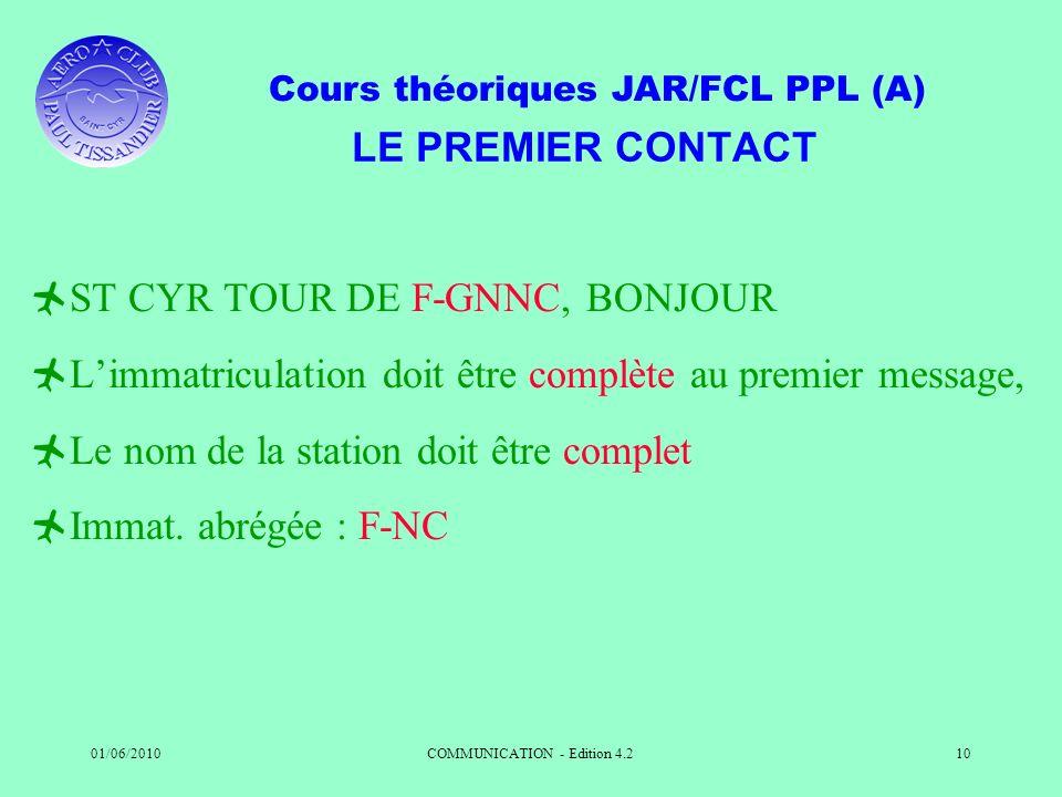Cours théoriques JAR/FCL PPL (A) 01/06/2010COMMUNICATION - Edition 4.210 LE PREMIER CONTACT ST CYR TOUR DE F-GNNC, BONJOUR Limmatriculation doit être
