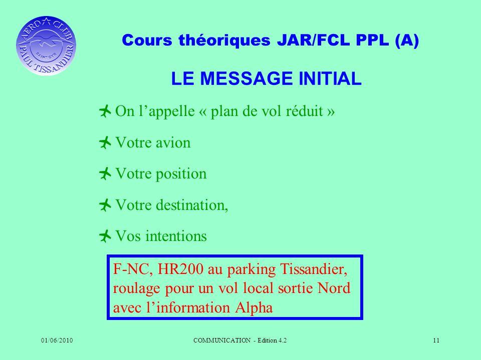 Cours théoriques JAR/FCL PPL (A) 01/06/2010COMMUNICATION - Edition 4.211 LE MESSAGE INITIAL On lappelle « plan de vol réduit » Votre avion Votre posit