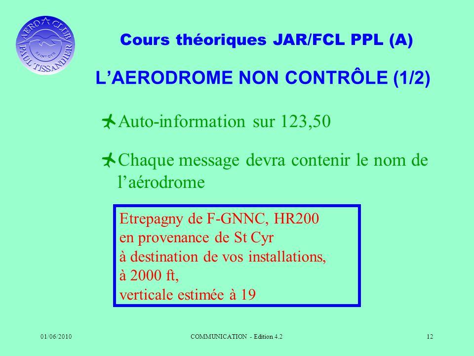 Cours théoriques JAR/FCL PPL (A) 01/06/2010COMMUNICATION - Edition 4.212 LAERODROME NON CONTRÔLE (1/2) Auto-information sur 123,50 Chaque message devr