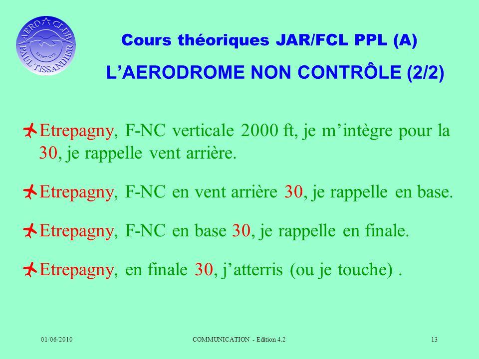 Cours théoriques JAR/FCL PPL (A) 01/06/2010COMMUNICATION - Edition 4.213 LAERODROME NON CONTRÔLE (2/2) Etrepagny, F-NC verticale 2000 ft, je mintègre