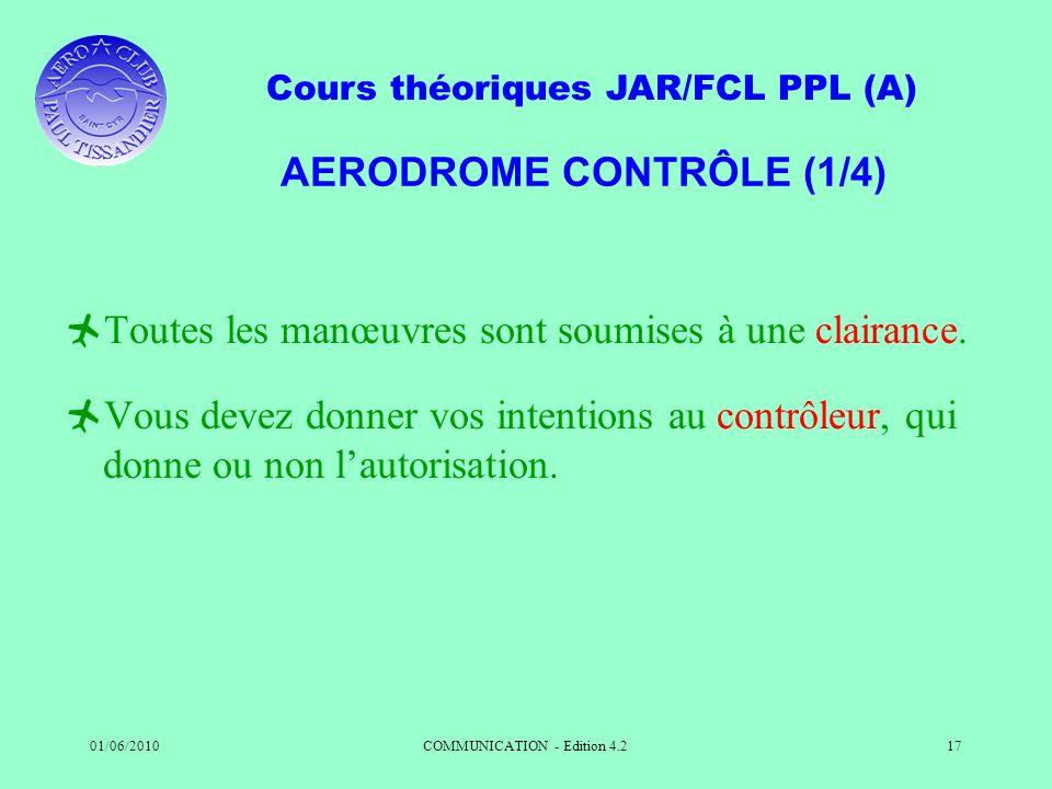 Cours théoriques JAR/FCL PPL (A) 01/06/2010COMMUNICATION - Edition 4.217 AERODROME CONTRÔLE (1/4) Toutes les manœuvres sont soumises à une clairance.
