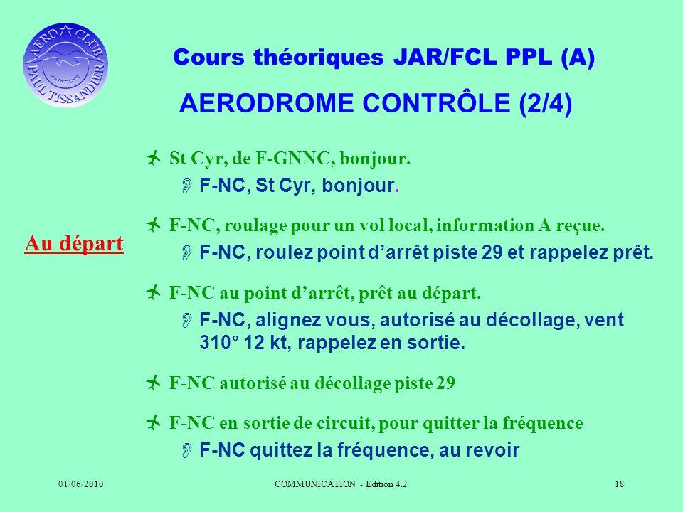 Cours théoriques JAR/FCL PPL (A) 01/06/2010COMMUNICATION - Edition 4.218 AERODROME CONTRÔLE (2/4) St Cyr, de F-GNNC, bonjour. F-NC, St Cyr, bonjour. F