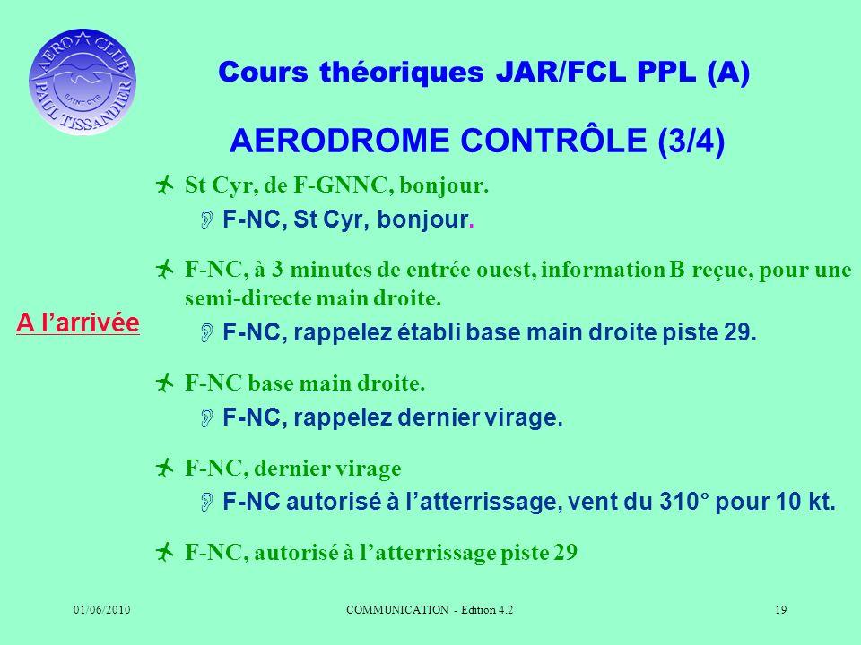 Cours théoriques JAR/FCL PPL (A) 01/06/2010COMMUNICATION - Edition 4.219 AERODROME CONTRÔLE (3/4) St Cyr, de F-GNNC, bonjour. F-NC, St Cyr, bonjour. F