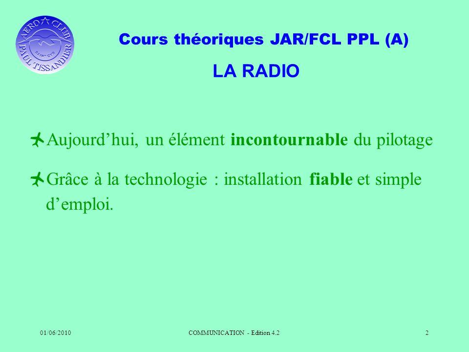 Cours théoriques JAR/FCL PPL (A) 01/06/2010COMMUNICATION - Edition 4.22 LA RADIO Aujourdhui, un élément incontournable du pilotage Grâce à la technolo