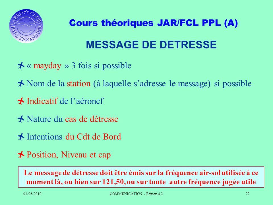 Cours théoriques JAR/FCL PPL (A) 01/06/2010COMMUNICATION - Edition 4.222 MESSAGE DE DETRESSE « mayday » 3 fois si possible Nom de la station (à laquel