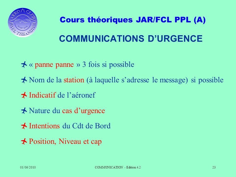 Cours théoriques JAR/FCL PPL (A) 01/06/2010COMMUNICATION - Edition 4.223 COMMUNICATIONS DURGENCE « panne panne » 3 fois si possible Nom de la station