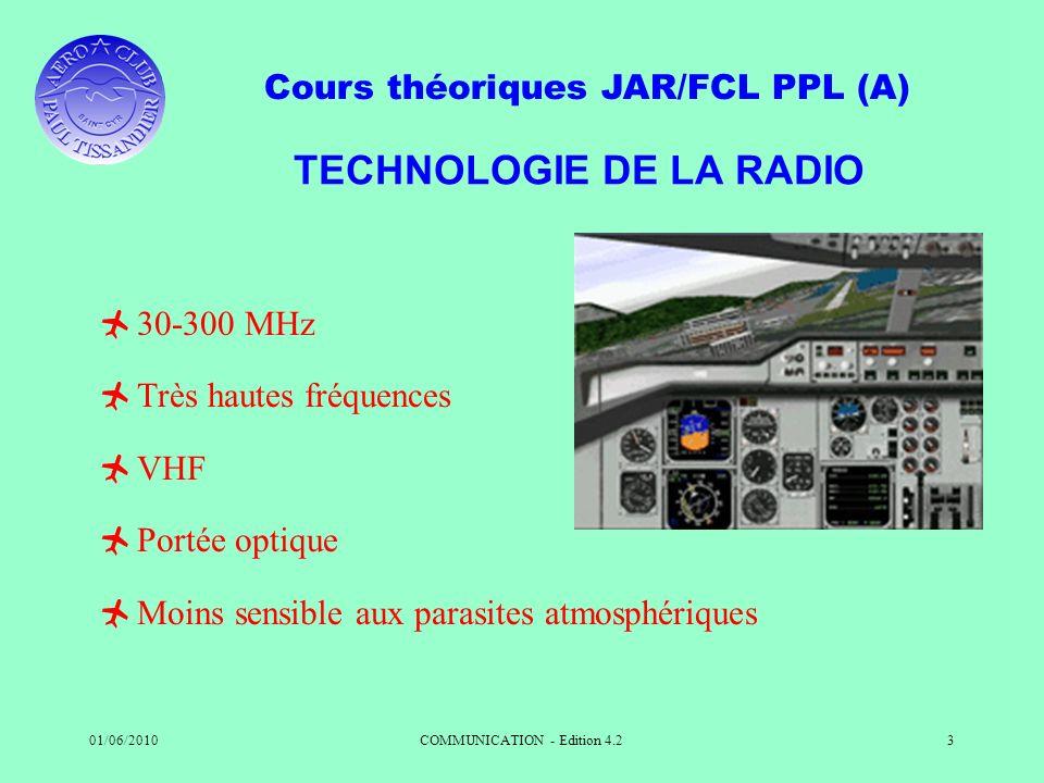 Cours théoriques JAR/FCL PPL (A) 01/06/2010COMMUNICATION - Edition 4.23 TECHNOLOGIE DE LA RADIO 30-300 MHz Très hautes fréquences VHF Portée optique M