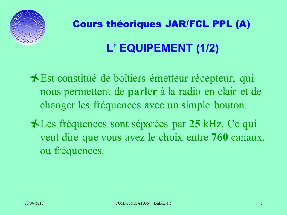 Cours théoriques JAR/FCL PPL (A) 01/06/2010COMMUNICATION - Edition 4.25 L EQUIPEMENT (1/2) Est constitué de boîtiers émetteur-récepteur, qui nous perm