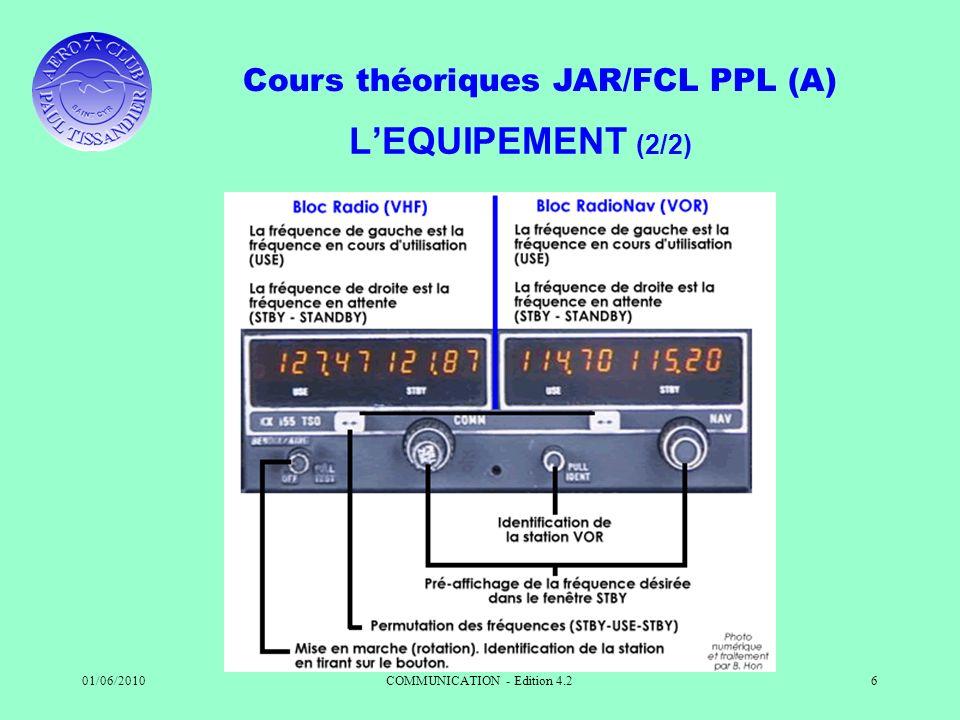 Cours théoriques JAR/FCL PPL (A) 01/06/2010COMMUNICATION - Edition 4.26 LEQUIPEMENT (2/2)