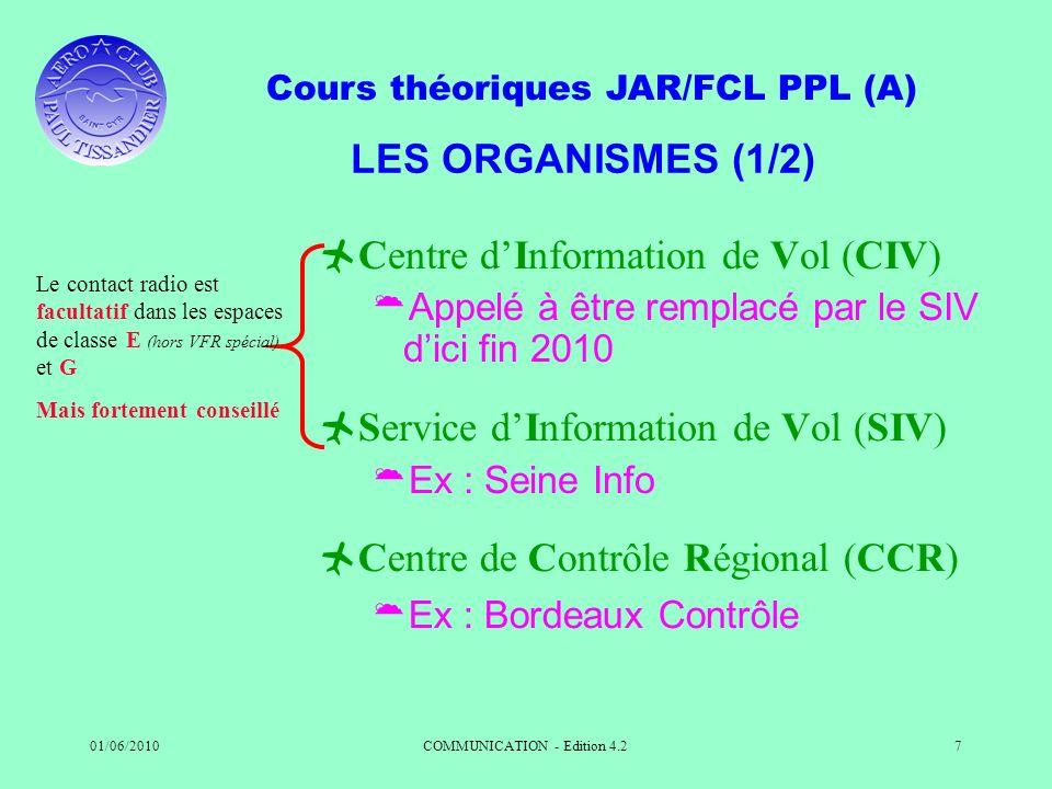 Cours théoriques JAR/FCL PPL (A) 01/06/2010COMMUNICATION - Edition 4.27 LES ORGANISMES (1/2) Centre dInformation de Vol (CIV) Appelé à être remplacé p
