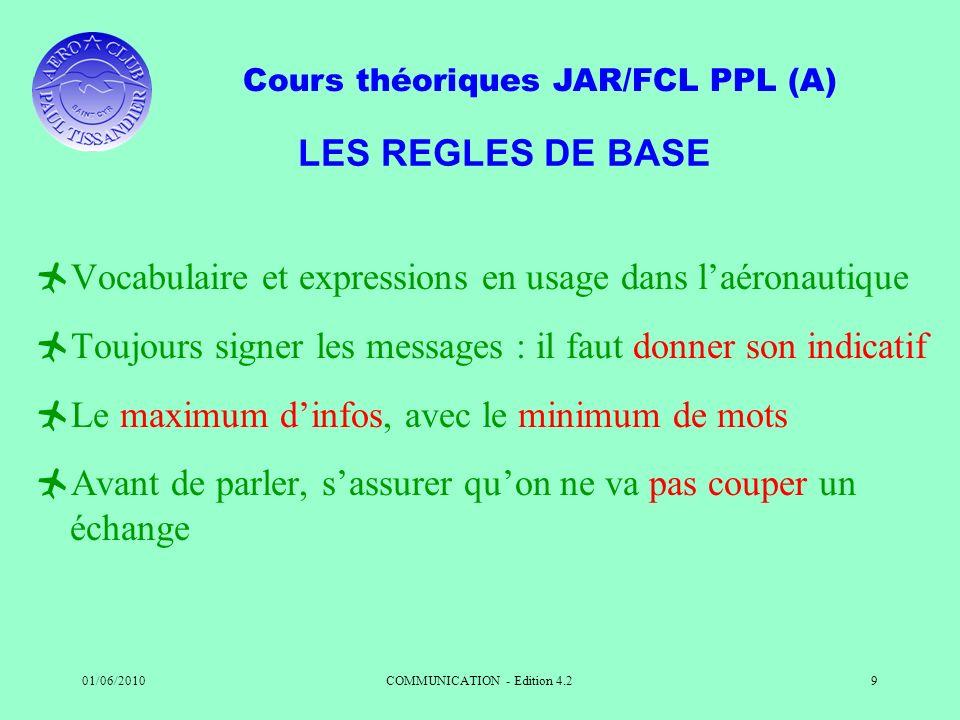 Cours théoriques JAR/FCL PPL (A) 01/06/2010COMMUNICATION - Edition 4.29 LES REGLES DE BASE Vocabulaire et expressions en usage dans laéronautique Touj