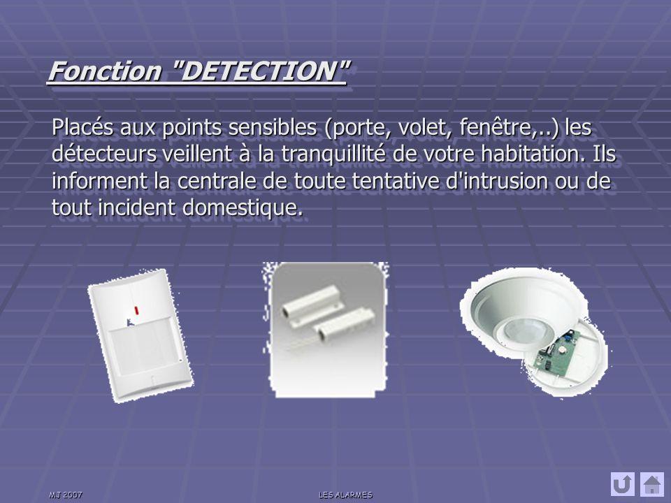 MJ 2007LES ALARMES Une télécommande ou un clavier permet de mettre en œuvre, partiellement ou totalement, le système de sécurité.