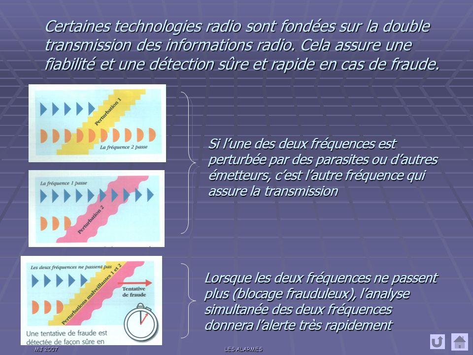MJ 2007LES ALARMES La technologie radio La transmission des informations seffectue par onde radio (à la fréquence de 433 MHz).