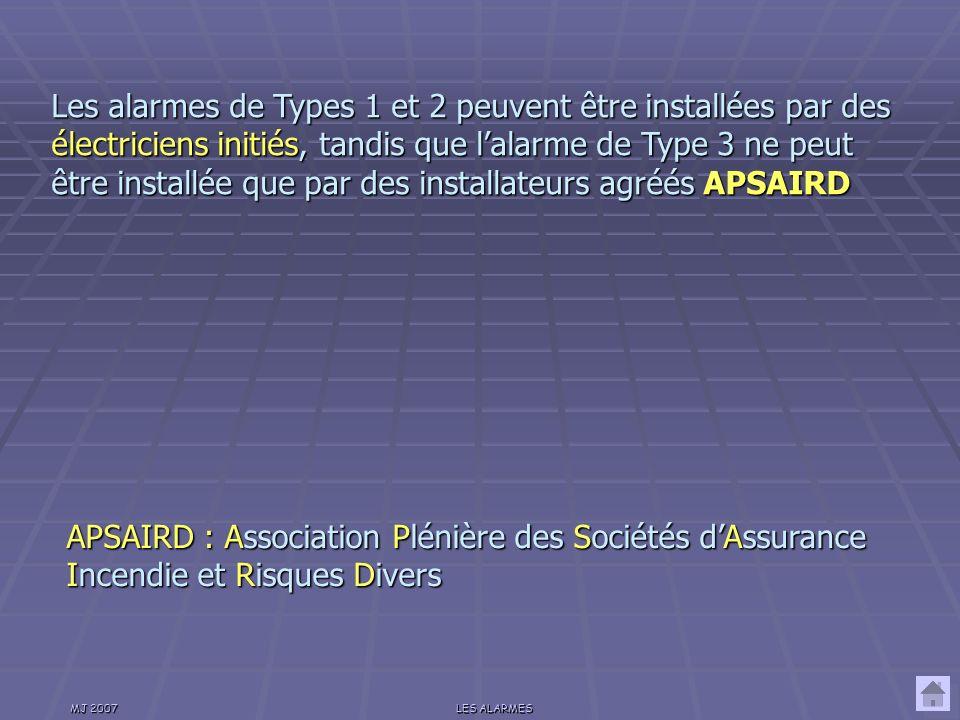 MJ 2007LES ALARMES Un système dalarme doit répondre aux exigences des Normes Normes Françaises Assurance Assurance Protection Protection Prévention.