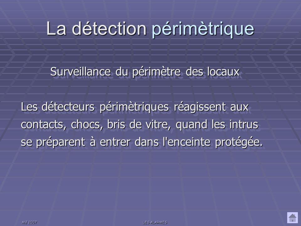 MJ 2007LES ALARMES Surveillance de la proximité des locaux Les détecteurs périphériques sont placés à l extérieur des locaux ou bâtiments protégés et interviennent avant que les intrus ne se soient attaqués à leur cible.
