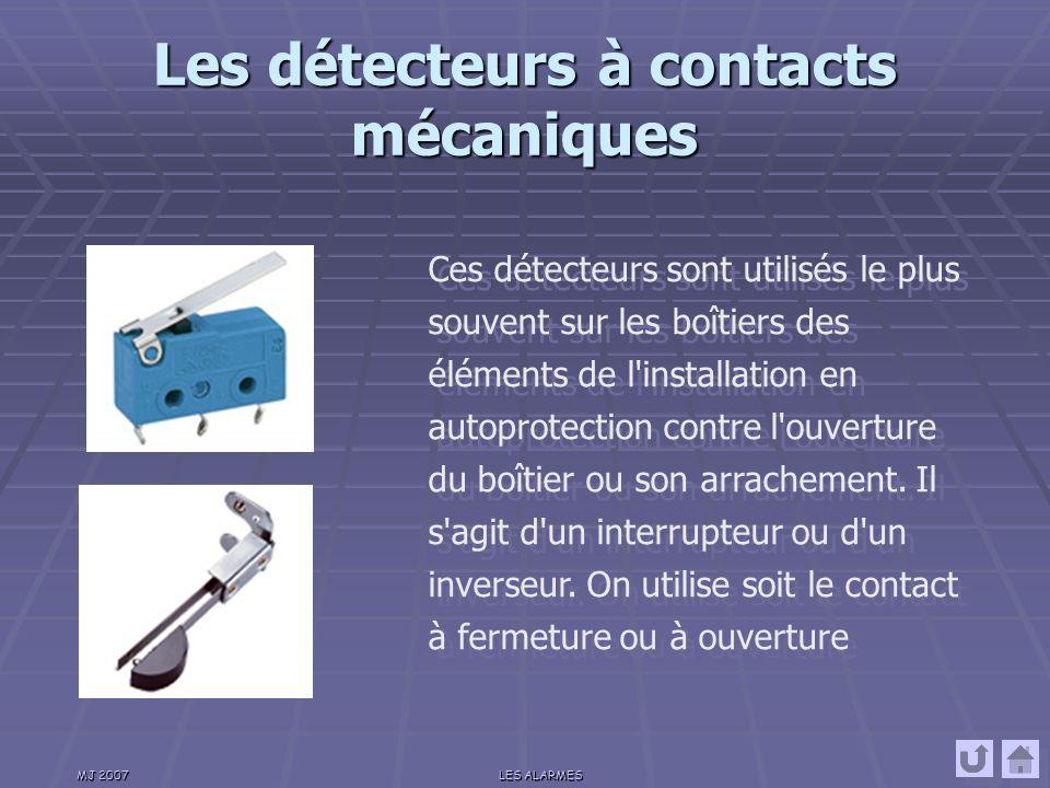 MJ 2007LES ALARMES Les détecteurs à contacts magnétiques Ces détecteurs sont installés sur les issues ou ouvrants à protéger.