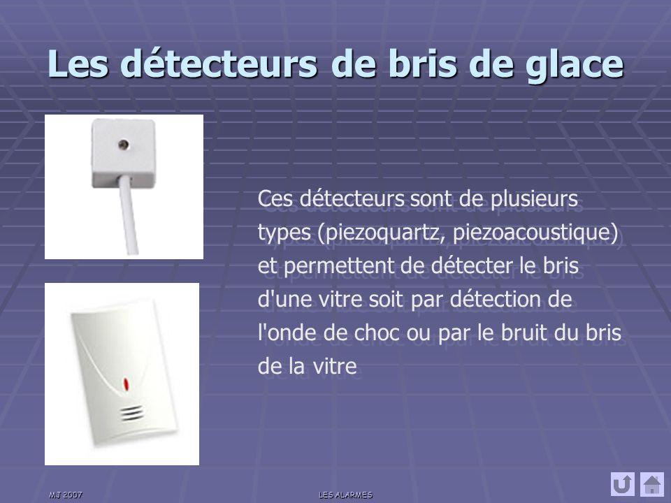 MJ 2007LES ALARMES Les détecteurs à contacts mécaniques Ces détecteurs sont utilisés le plus souvent sur les boîtiers des éléments de l installation en autoprotection contre l ouverture du boîtier ou son arrachement.