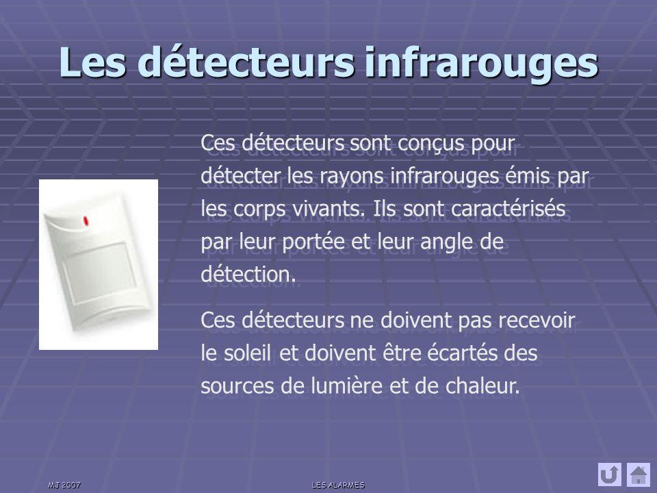 MJ 2007LES ALARMES Les détecteurs de bris de glace Ces détecteurs sont de plusieurs types (piezoquartz, piezoacoustique) et permettent de détecter le bris d une vitre soit par détection de l onde de choc ou par le bruit du bris de la vitre