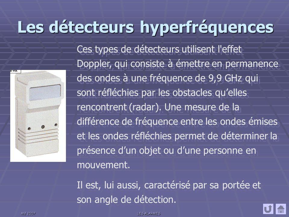 MJ 2007LES ALARMES Les détecteurs infrarouges Ces détecteurs sont conçus pour détecter les rayons infrarouges émis par les corps vivants.