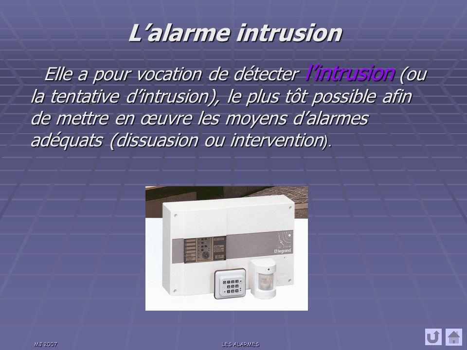 MJ 2007LES ALARMES Elle permet la détection et la signalisation des anomalies ou défaillances techniques techniques des installations.