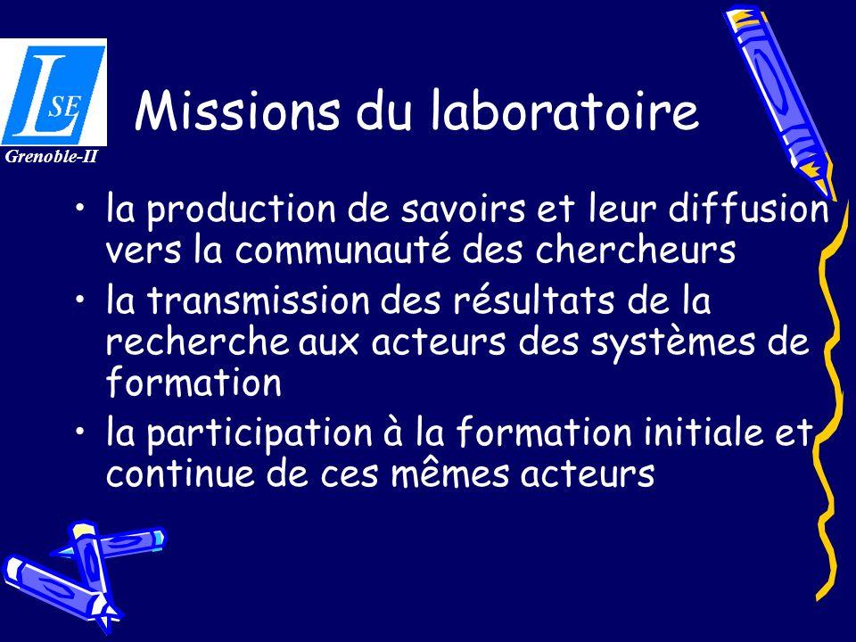 Missions du laboratoire la production de savoirs et leur diffusion vers la communauté des chercheurs la transmission des résultats de la recherche aux acteurs des systèmes de formation la participation à la formation initiale et continue de ces mêmes acteurs Grenoble-II