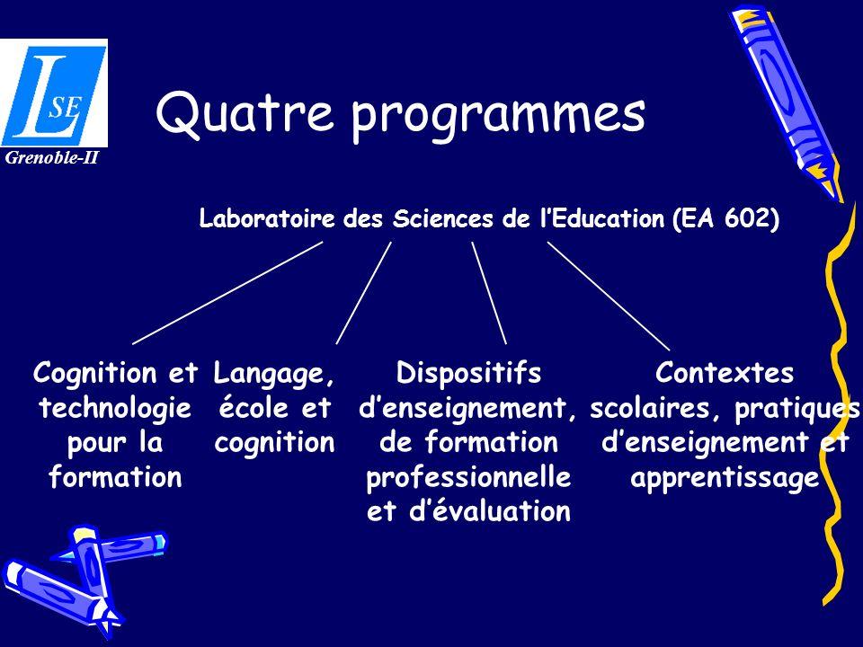 Quatre programmes Cognition et technologie pour la formation Langage, école et cognition Laboratoire des Sciences de lEducation (EA 602) Dispositifs d