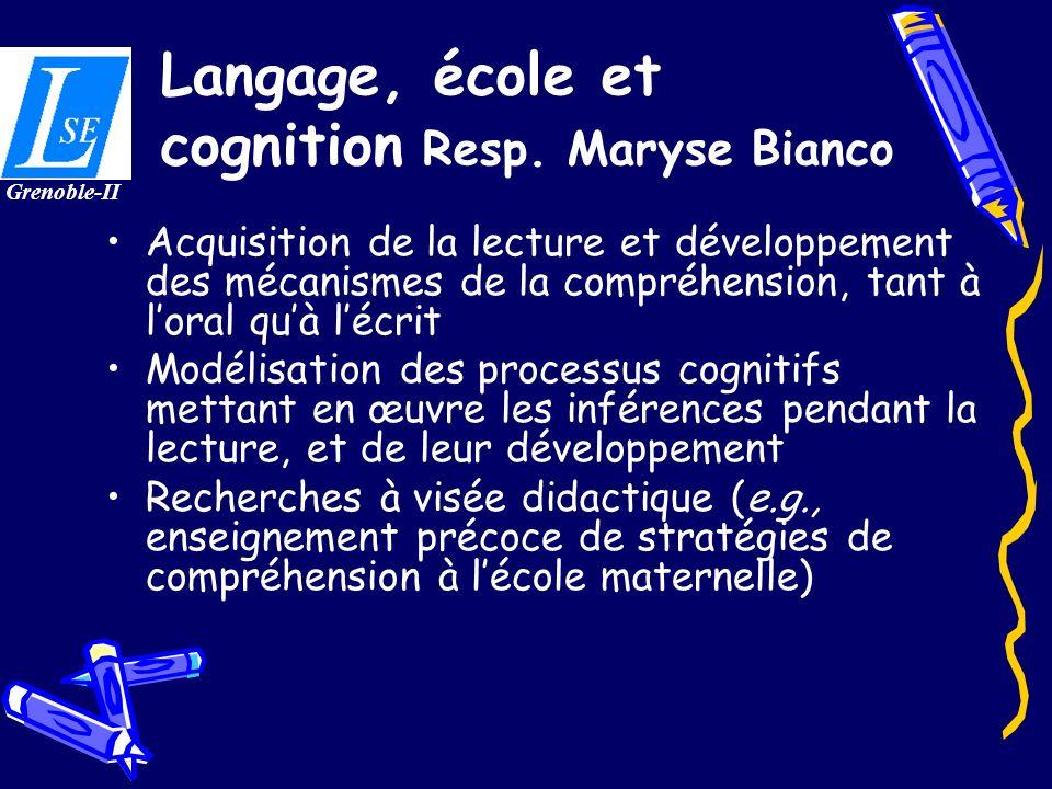 Langage, école et cognition Resp. Maryse Bianco Acquisition de la lecture et développement des mécanismes de la compréhension, tant à loral quà lécrit